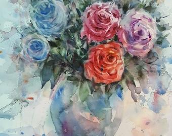 Vase of Rose. : Original Watercolor Painting