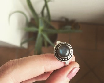 Bohemian Eye Silver Ring with Clear Green stone and fine detail 925