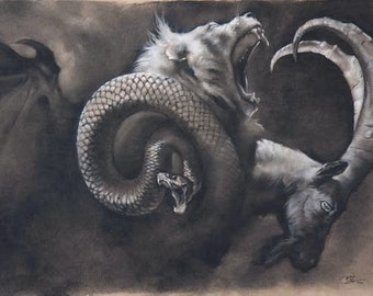 Dusk - the mythical chimera - 8 x 10 art print of a charcoal drawing