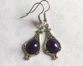 Purple Silver Earrings, Purple Jewelry, Purple Earrings, Silver Earrings, Silver Jewelry, Purple Dangle Earrings, Mothers Day gift
