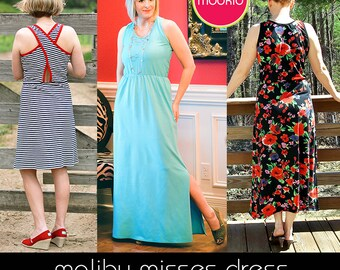 Malibu Misses Dress PDF Downloadable Pattern by Modkid... sizes XS, S, M, L, Xl and  XXL Womens included - Instant Download