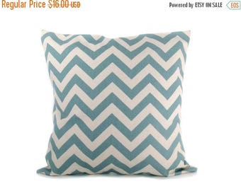 15% Off Sale Blue Pillow  Cover Blue and Cream Chevron  Pillow Cover ONE 18x18 ZigZag Decorative Pillows Light Blue Pillow Printed Fabric on