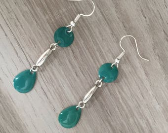 Earrings dangle silver tone and green