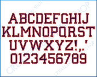 """Old School - 2 Color Font - 1"""", 1.5"""", 2"""" Sizes - ** Numbers are 1"""" Only **"""