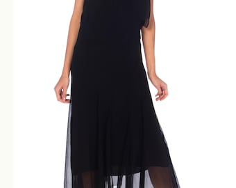 1920s  Black Chiffon Dress With White Lace And Colorful Beading Size: XS