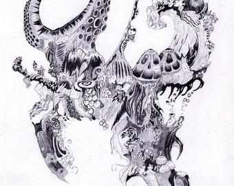 """Art surrealism drawing illustration """"Untitled from Drowning InConscious Series"""" Open print."""
