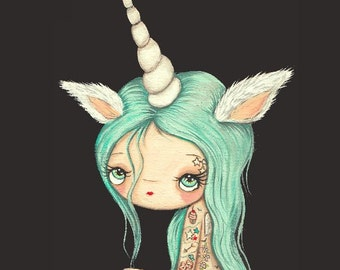Unicorn Print Tattooed Girl Fuzzy Tattoo Unicorn Wall Art Whimsical Portrait