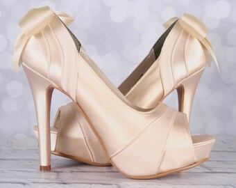 Ivory Wedding Shoes, Simple Wedding Shoes, Wedding Shoes, Ivory Bridal Shoes, Custom Wedding, Wedding Shoes High Heels, Bridal Shoes
