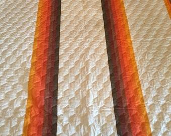 RARE Vintage Wamsutta 1970's Orange and Brown Rainbow Twin Quilted Bedspread - 1970s bedding, rainbow sheets, rainbow bedspread