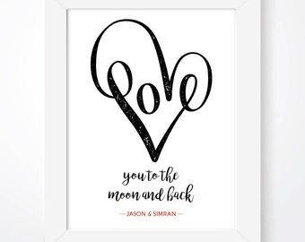 Personalised Love Print, Couples Personalised Print, Wedding Personalised Print, Love Print, In Love Print, Married Print, His & Hers Print