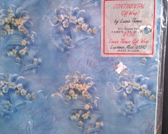 Vintage Wedding Gift Wrap. Dusty Cerulean Blue With Bells and Flowers. Two 20 inch by 30 inch Sheets. NOS. Continental Gift Wrap. 1980's.