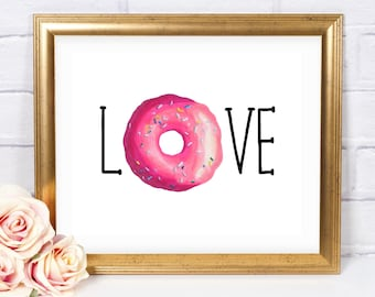Donut Love 8x10 Printable, Instant Download, Donut Poster, Girl Birthday, Girl Donut Party, Donut Birthday Party Sign, Donut Decorations