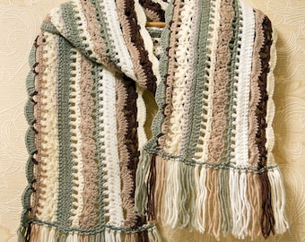Multicolor Long Scarf With Fringes, Wool Winter Fall Scarf, Lace Womens Scarf, Crochet Oversized Scarf For Women