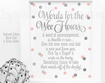 Baby Shower Games Words For The Wee Hours Words of Wisdom Late Night Diapers Blush Pink Silver Glitter Printable Baby Girl Shower Game Ideas