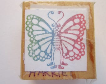 rubber stamp - BUTTERFLY in boots - used rubber stamp