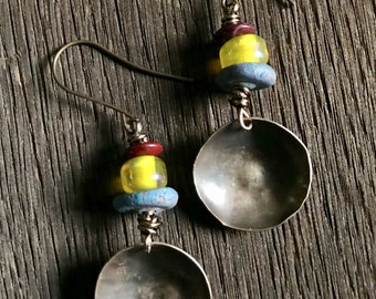 Rustic Primitive Hammered Disc Earrings with Glass Trade and Clay Beads