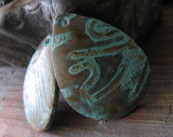 AGB copper artisan jewelry findings verdigris patina domed teardrop components 21x16mm Phokas 2 pieces