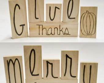 Reversable Holiday Wood Blocks -Thanksgiving & Christmas - Wood Burned
