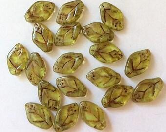 19 x Czech Glass Leaf Beads 12 x 7mm