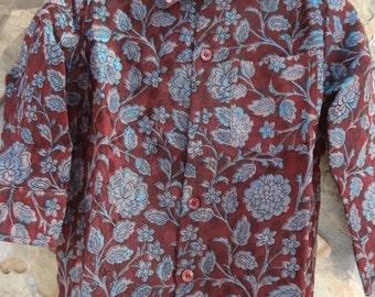 Sibling Matching - Toddler Boys Long Sleeved, Lined Ethnic Indian Sari Silk Button Down Shirt - Irridescent Burgundy - Faisal 2900