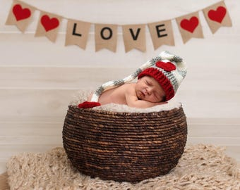 Valentines Day Heart Love Infant Newborn Baby Long Tail Beanie Hat Crochet Photography Photo Prop
