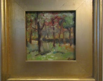 Walk in the Woods, framed original oil painting