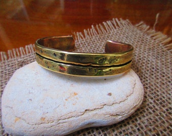 Lined Bronze Cuff Bracelet.  14mm X 3mm.  Hammered and Polished. Black Lined.