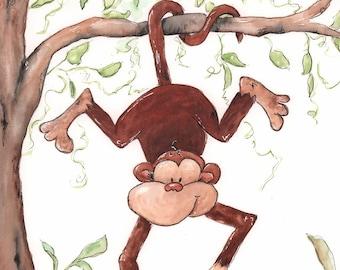 Cute Monkey Wall Art - Safari Nursery Wall Art - Jungle Nursery  Watercolor Monkey Art Print - Baby Animal Print - 6 sizes, 5x7 to 24x36