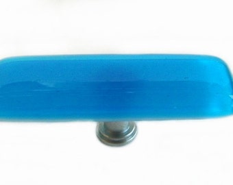 "Long Knob in Deep Turquoise Art Glass.  1"" x 3"" Fused Glass Knob or Drawer Pull"