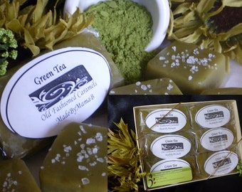 Gift Box Green Tea caramels~ Salted or Plain ~ 1 or 2 Dozen extra creamy, Soft, Gourmet, homemade caramels