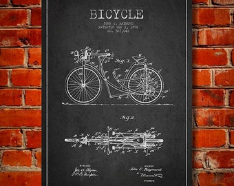 1896 Bicycle Patent Canvas Print, Wall Art, Home Decor, Gift Idea