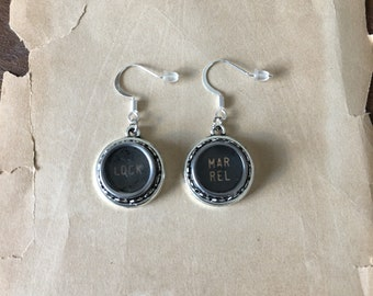 Typewriter Key Earrings, Silver-Tone. Gift for Writer.