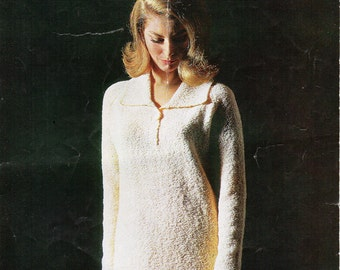 Vintage womens dress knitting pattern PDF ladies knitted collar dress 34-40 inch boucle DK light worsted 8ply yarn instant download