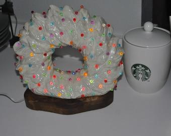 Vintage Ceramic Wreath With Wood Base