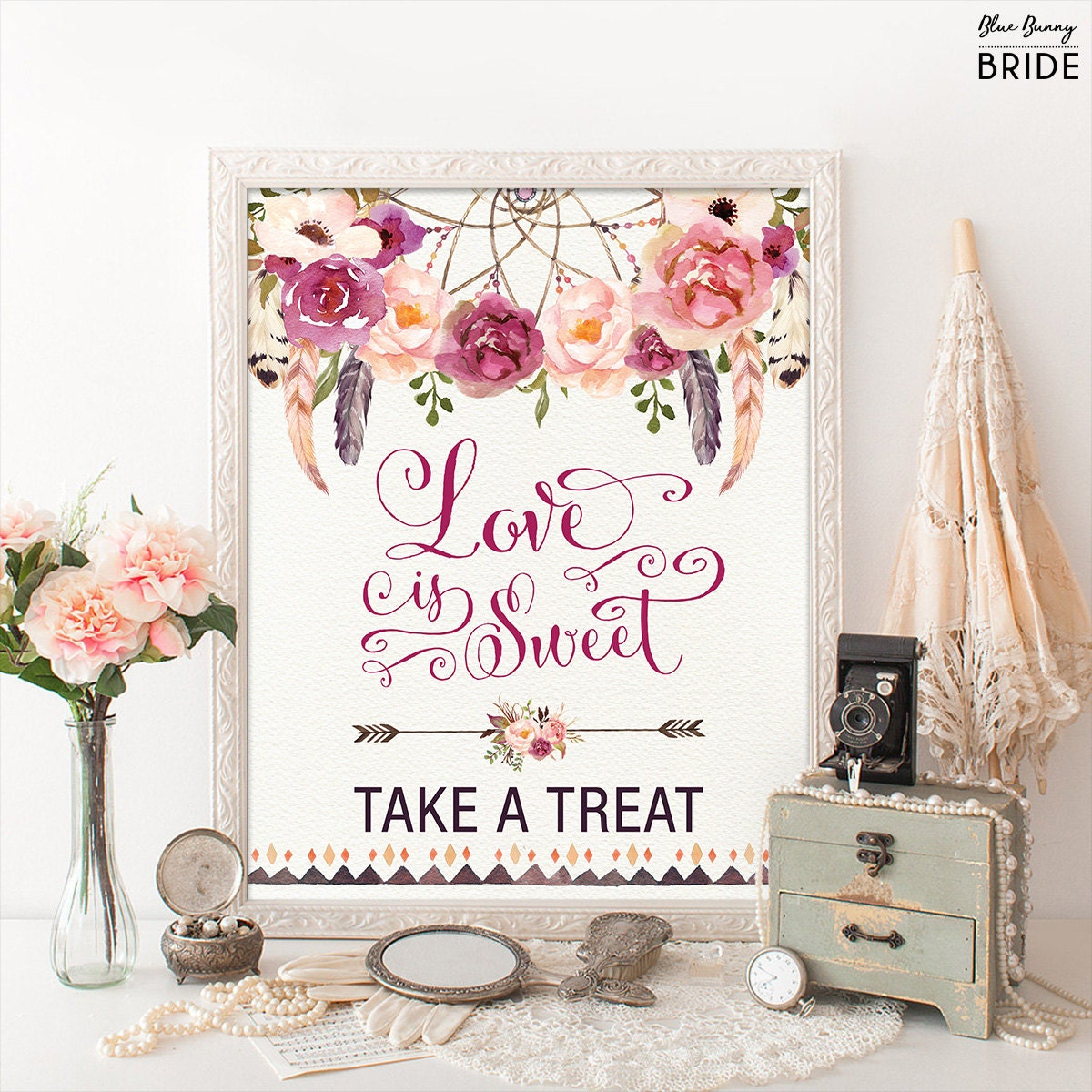Boho Floral Love is Sweet Sign. Printable Bohemian