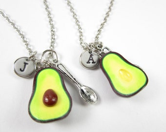 Best Friend Avocado Initial Necklace, Personalized gift, personalized necklace, best friend necklace, friendship necklace, best friend gift