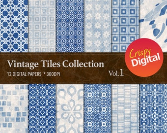 Vintage Tiles Blue Digital Papers 12pcs 300dpi Digital Download Blue Collage Sheets, Blue Scrapbooking Printable Paper