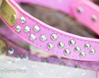 Pink Leather Dog Collar // Pink Leather Collar // Personalized Leather Dog Collar // Engraved Name id // Dog Collar // Puppy Collar