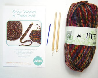 Stick weaving kit to Make a  Multi Coloured Brown Table Mat