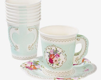 Shabby Chic paper Floral Tea Cups and Saucer set of 12