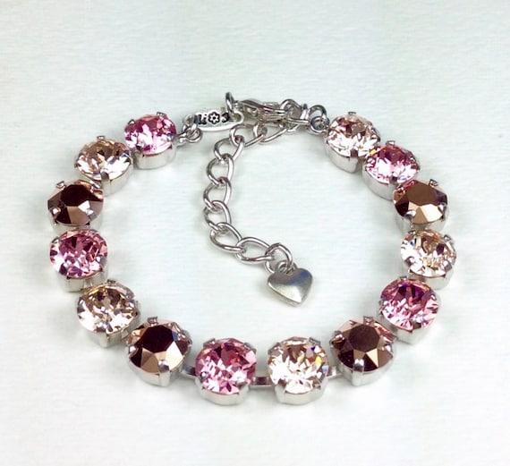 "Swarovski Crystal 8.5mm Bracelet  ""Rosy Horizons""   Lt. Rose, Rose Gold, and Champagne  - Designer Inspired  Bridesmaid Gift - FREE SHIPPING"