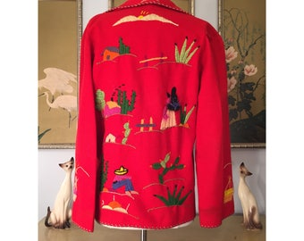 1940s 50s Mexican Embroidered Wool Souvenir Jacket -- Lovely but Needs TLC