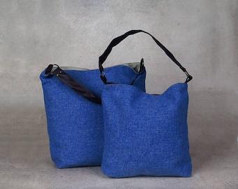 blue bag - over the shoulder purse - over shoulder bag - canvas shoulder bag - canvas hobo bag - womens shoulder bag - womens handbags