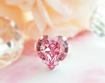 Pink Heart Ring - Big Statement Ring - Silver Swarovski Crystal Ring - Pink Rhinestone Ring - Chunky Crystal Ring - Heart Promise Ring R2002
