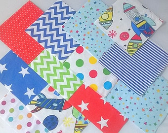 """30 x Baby Boy Rocket Space 5"""" Fabric Patchwork Squares Pieces Charm Pack"""