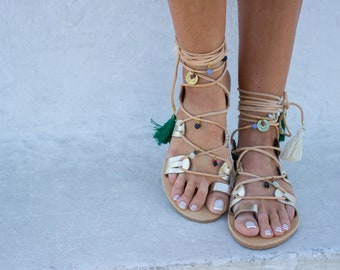 "RiRiPoM, Boho Sandals, Gold Sandals, Gypsy Sandals, Minimal Sandals, Gladiator Sandals, Greek Sandals, Pom Pom Sandals, ""Soraya"""