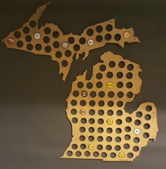 Michigan Shaped Wood Bottle Cap And Beer Cap Map - Michigan bottle cap map