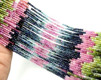 "25 Strand Natural Multi Tourmaline Micro Faceted Rondelle Gemstone Loose Beads 2.75mm 17"" Strand"