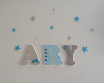 Blue boy theme wooden letters - wood name personalized boy
