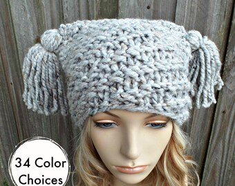 Grey Tweed Spiral Ponytail Knit Hat Grey Womens Hat - Grey Tassel Hat - Grey Beanie Grey Hat Warm Winter Hat - 34 Color Choices